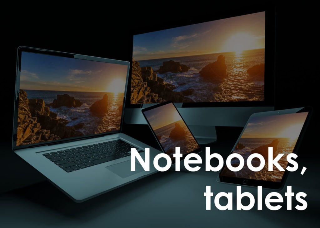 notebooks, tablets